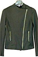 Marc New York Black Andrew Marc Asymmetrical Zip Knit Jacket Size M Med