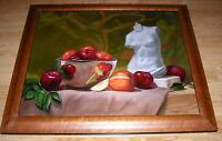 STILL LIFE RED APPLES FRUIT BOWL ARTISTIC NUDE SCULPTURE OIL CALIFORNIA PAINTING