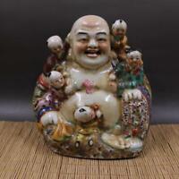 "8.5"" Chinese Famille Rose Porcelain Buddhism Five Child Maitreya Buddha Statuary"