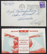 US Government Irrigation Project Illustrated Cover Orland 1940 USA Brief (Y-334