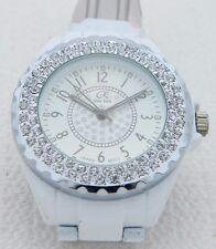 R New York White Ceramic Clear Rhinestone Quartz Dress Fashion Watch