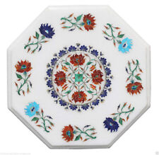 """12"""" White Marble Top Coffee Corner Table Mosaic Inlay Marquetry Home Decor"""