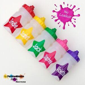 NAMED KIDS STAR WATER / DRINK BOTTLE - NO LEAKS - LID/HANDS FREE - 300ML