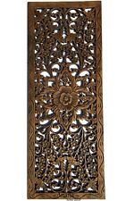 "Asian Carved Wood Wall Decor Panel. Floral Wood Wall Art. Brown 35.5""x13.5"""