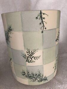 Bath Accessories - Croscil Rainier, 3Pieces. Green Leaves/cream blue green check