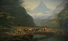 *3156* huile sur toile famille de berger et son troupeau 19eme signé meyer