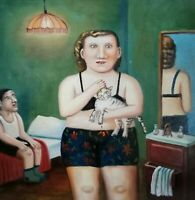 DIE MIEZE canvas Öl auf Leinwand Gemälde Gr. ca. 33x33 cm