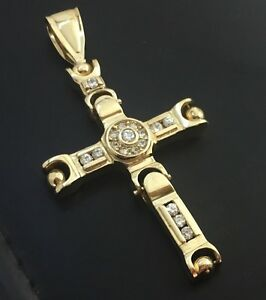10k yellow gold hinged cross with cubic zirconium