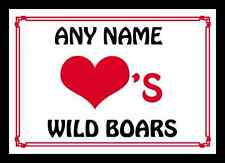 Love Heart Wild Boars Personalised Mousemat