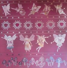 """12X12"""" Scrapbook Paper Silver Foiled Mystic Realm Faerie Border on Pink"""