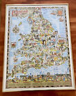 Rare England & Wales Poster Framed 1981 Cartoon Map 'Heritage Of Britain' 28x21