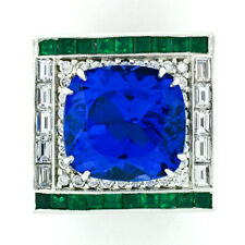 Estate Platinum 12.53ctw GIA Tanzanite Emerald & Diamond Cocktail Statement Ring