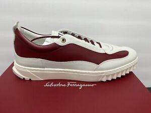 $660 Salvatore Ferragamo Aaron Gancini White Red Leather Sneakers, Size 13