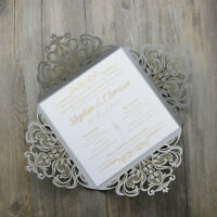 Silver Personalised Laser Cut Wedding/Engagement Invitations Free Custom print
