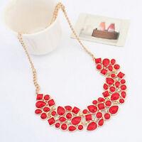 Hot Women Fashion Alloy Rhinestone Statement Bib Necklace Pendant Chain Choker