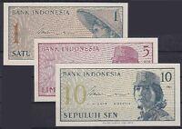Indonesien 3 Geldscheine 1964, 1, 5, 10 Sen, Lot