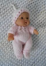 "Doll Clothes Hand-knit Pink Footed  jumpsuit Fits 7"" to 8"" Husky Baby Dolls"