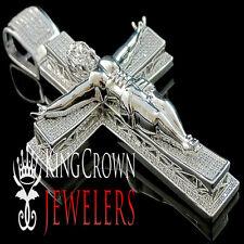 Genuine Silver White Gold Finish Lab Diamond Jesus Crucifix Cross Charm Pendant
