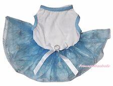 Xmas Plain White Cotton Top Blue Snowflake Organza Tutu Pet Dog Puppy Cat Dress