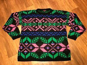 Vtg 80s 90s Apres Ski Sweater Chris Ann SNOWFLAKE Neon Fair Isle Womens LARGE