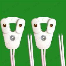 2x T8 Fluorescent & LED Tube Lamp Holder Socket Fittings, 58cm Cables (G13 Base)