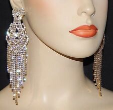 """Gold Clear Crystal Chandelier Earrings Drag Queen Pageant  Clip On 5"""" E04"""