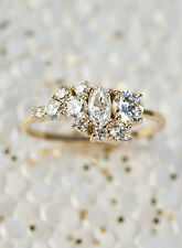 0.30 Ct Round & Oval Diamond 14K Yellow Gold Over Engagement Cluster Ring