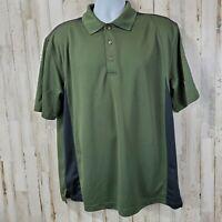 GrandSlam Mens Golf Polo L Green Black Colorblock Short Sleeve Three Button