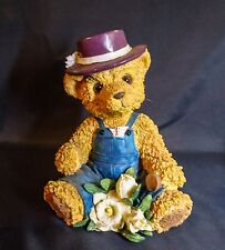 "8 1/2"" Sitting Teddy Bear Figurine Gardener Floral Collectible Handpainted CR9"