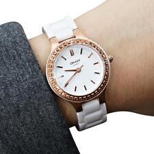 DKNY NY2251 Women's Chambers Rose Gold Tone White Ceramic Band Watch