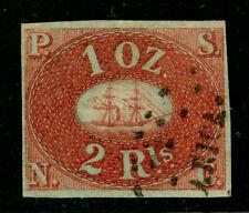 PERU 1857 PACIFIC STEAM NAVIGATION Co (PSNC) 2rls red brown Scott# 2 used - Rare