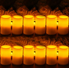12 x Flameless Resin Pillar LED Candle Light w/ Timer for Wedding Party Brithday