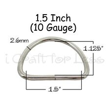 "25 Dee Rings - 1.5 Inch (1 1/2"" - 38mm) Non Welded Nickel Plated Steel 10 gauge"