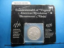 VIRGINIA WASHINGTON JEFFERSON REVOLUTION BICENTENNIAL 999 SILVER COIN SEALED