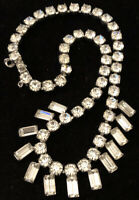"""Weiss Inspired 16"""" Round & Emerald Cut Angled Faceted Stone Choker Rhinestone"""