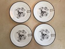 Ciroa Wicked Skull Floral Rose Halloween Dinner Plate Set of 4 NEW