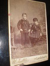 Cdv cabinet old photograph children trumpet by Hattler Landshut Germany c1890s