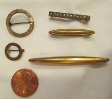 ANTIQUE LOT of 5 1910s GOLD GILT WASH BROOCH PINS BAR ROUND one marked 6/21/1910