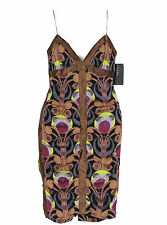 Nicole Miller Black Bronze Deco Inspired Print Silk Cocktail Dress Size 2 $365