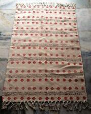 Turkish Kilim, Oriental Area Rug Floor Carpet Kelim Block Print Yoga Mat Art