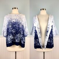 Size Large L Pure J Jill Linen Blend Convertible Cardigan Sweater Top Shirt NWT