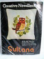 "Sultana Creative Needlecraft Owl Pillow Kit Crewel ""Wise One"" decorator 13"" sq."