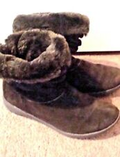 EUROSTEP, LADIES  7 M, BROWN SUEDE, SLOUCH ANKLE BOOTS, FAUX FUR LINED, PULL-ONS