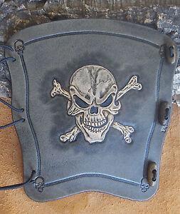 Hand carved leather archery arm guard,bracer,Skull n bone,smoke blk,LARP,Cosplay
