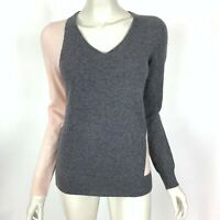 C Bloomingdale Colorblock 2-ply Cashmere Sweater V-Neck Pullover Women Medium