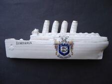 C1915 VINTAGE R.M.S. LUSITANIA BRIGHTON CRESTED CORONA WARE SOUVENIR SHIP