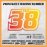 3x Custom MX Racing Number Plate Dirt Bike Motorcycle Decal Sticker PRINTCUT#1
