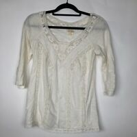 Anthropologie Meadow Rue V-Neck Top S Embroidered Lace Detail 3/4 Sleeves Cream