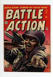 BATTLE ACTION #8 - CLASSIC COVER - Jan, 1953 - RARE ATLAS GOLDEN AGE WAR