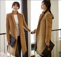 Women's Lapel Collar Trench Coat Dust Coat Long Wool Blend Jacket Coats Slim#